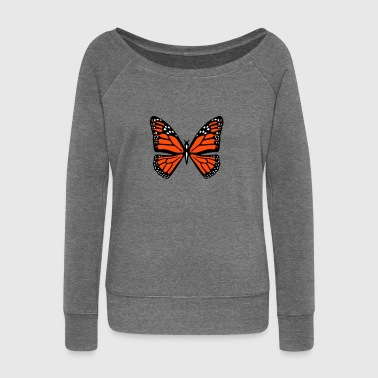 Snowy butterfly - Women's Boat Neck Long Sleeve Top