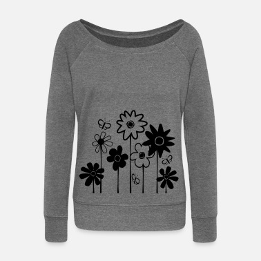 Funky Cute Funky Flowers With Butterflies--DIGITAL DIRECT PRINT - Women's Boat Neck Long Sleeve Top