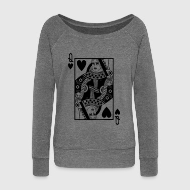Poker Queen Card - Heart Queen - Poker Card - Women's Boat Neck Long Sleeve Top