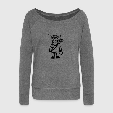 Cow cowboy with a guitar  Aprons - Women's Boat Neck Long Sleeve Top