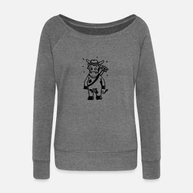 Hillbilly Cow cowboy with a guitar  Aprons - Women's Boat Neck Long Sleeve Top