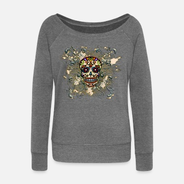 Mexico Day Of The Dead Mexican Sugar Skull - Day of the Dead - Women's Boat Neck Long Sleeve Top