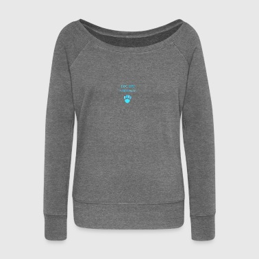 Paw Print Blue Paw Print - Women's Boat Neck Long Sleeve Top