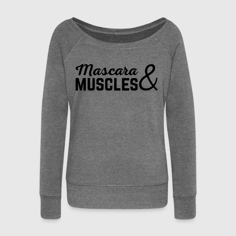 Mascara & Muscles Gym Quote  - Women's Boat Neck Long Sleeve Top