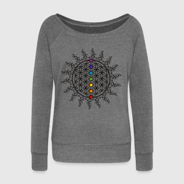 FLOWER OF LIFE, CHAKRAS, SPIRITUALITY, YOGA, ZEN - Women's Boat Neck Long Sleeve Top