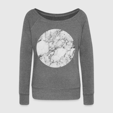 AD Silver Moon Marble - Women's Boat Neck Long Sleeve Top