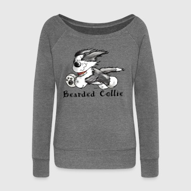 Bearded Collie  - Women's Boat Neck Long Sleeve Top