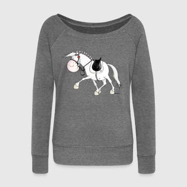 Dressage - Horse - Horses - warmblood - Women's Boat Neck Long Sleeve Top