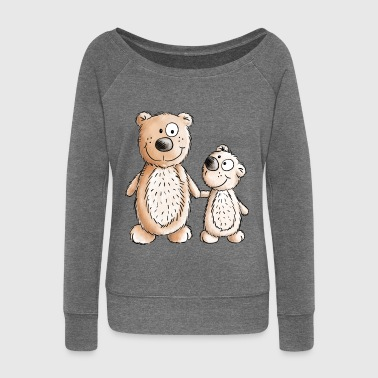 Litttle And Big Bear - Siblings - Brother - Sister - Women's Boat Neck Long Sleeve Top