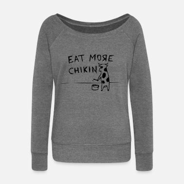 Cow propaganda eat more chickin - Women's Boat Neck Long Sleeve Top