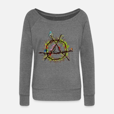 Anarchy green anarchy logo - Women's Boat Neck Long Sleeve Top