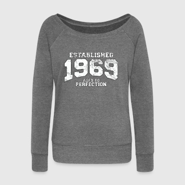 established 1969 - aged to perfection (it) - Felpa con scollo a barca da donna, marca Bella