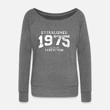 Birth established 1975 - aged to perfection (uk) - Women's Boat Neck Long Sleeve Top