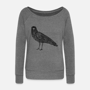 Hipster The crow - Women's Wide-Neck Sweatshirt