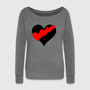 Hearts black-red - Women's Boat Neck Long Sleeve Top