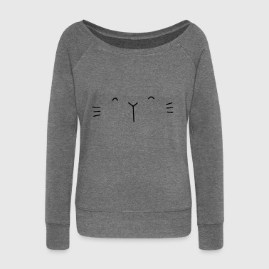 Cat face cat face - Women's Boat Neck Long Sleeve Top