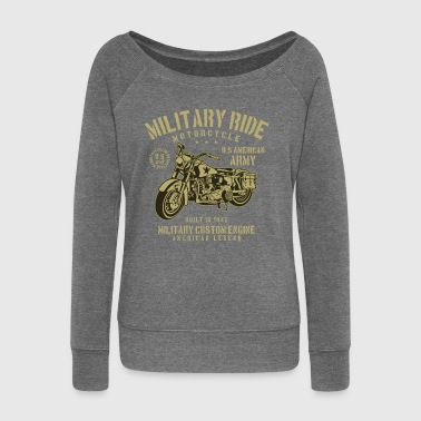 Military US MILITARY RIDE - Army Motorcycle Shirt Motif - Women's Boat Neck Long Sleeve Top