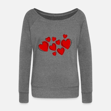 Valentines Day Heart of love - Women's Boat Neck Long Sleeve Top