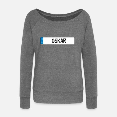 Name Tag Oskar name tag gift - Women's Boat Neck Long Sleeve Top
