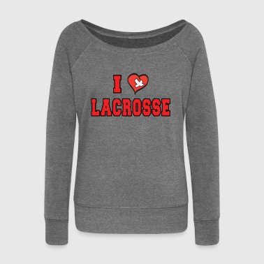 Lacrosse Lacrosse I Love Lacrosse - Women's Boat Neck Long Sleeve Top