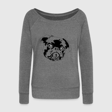 Pug pug puppy - Women's Boat Neck Long Sleeve Top