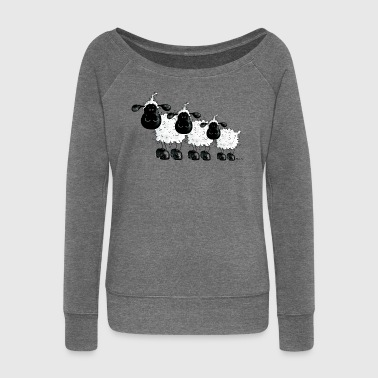 Sheep Shirt - cute and funny t-shirt design - Women's Boat Neck Long Sleeve Top