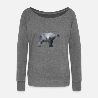 Black Forest BEAR IN SMOKY FOREST - Women's Boat Neck Long Sleeve Top