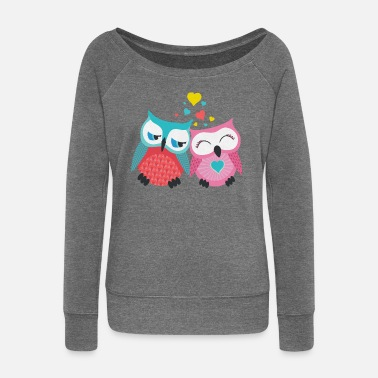 Couples owls in love  - Women's Boat Neck Long Sleeve Top