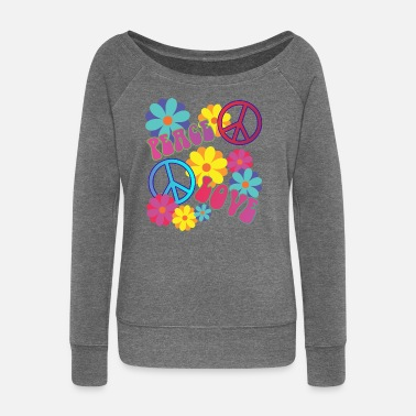 Festival love peace hippie flower power - Women's Boat Neck Long Sleeve Top
