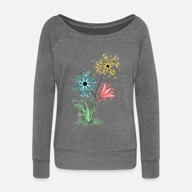 Collection Flowers - Colorful flowers - Women's Wide-Neck Sweatshirt