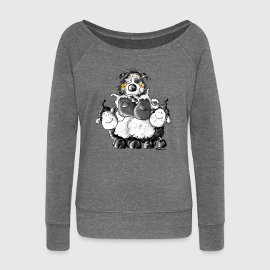 Sheep Australian Shepherd and sheep - Dog - Women's Boat Neck Long Sleeve Top