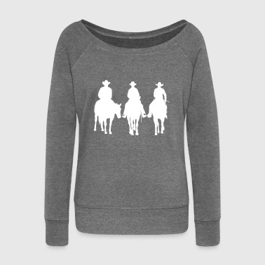 Trio - Western riding - Women's Boat Neck Long Sleeve Top