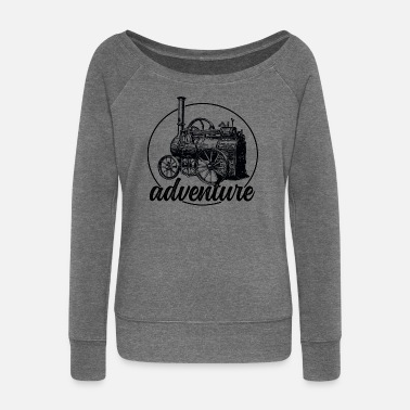 Steam Engine Steam engine retro gift - Women's Wide-Neck Sweatshirt