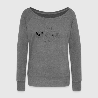 Friends, not food! (Black) - Women's Boat Neck Long Sleeve Top