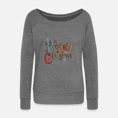 Merry Christmas color - Women's Boat Neck Long Sleeve Top
