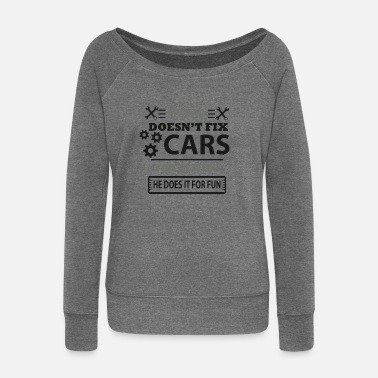 Auto Repair Car Auto Repair Dad Father Papa Daddy Pops - Women's Boat Neck Long Sleeve Top