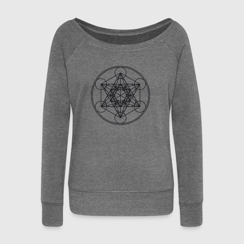 Metatrons Cube Sacred Geometry Flower Life Science - Women's Boat Neck Long Sleeve Top