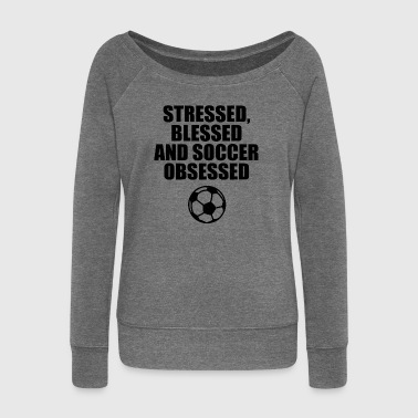Soccer football football saying - Women's Boat Neck Long Sleeve Top