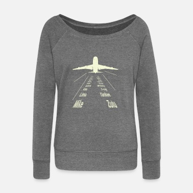 Alphabet Full Phonetic Alphabet | Cute Plane Letters Poison - Women's Wide-Neck Sweatshirt