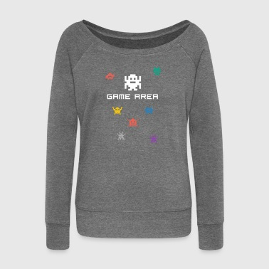 gamearea pixelart video game console pc retro nerd - Women's Boat Neck Long Sleeve Top