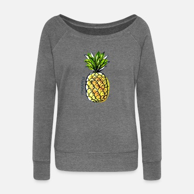 Fruit Pineapple Fruit Fruit Pineapple Fruit - Women's Boat Neck Long Sleeve Top
