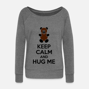 Keep Calm Keep Calm And Hug Me - Felpa con scollo a barca da donna, marca Bella