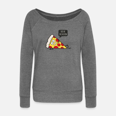 Funny Funny Cartoon Pizza - Statement / Funny / Quote - Women's Boat Neck Long Sleeve Top