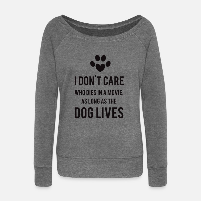 Dog Long Sleeve Shirts - Dogs - Women's Wide-Neck Sweatshirt dark grey heather