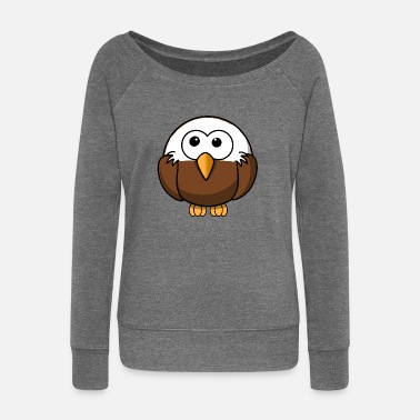 Bald Eagle Eagle with bald comic style - Women's Wide-Neck Sweatshirt