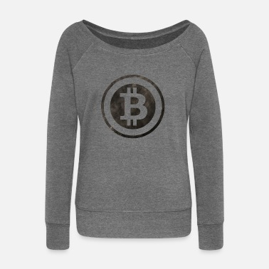 Stencil Bitcoin stencil - Women's Boat Neck Long Sleeve Top