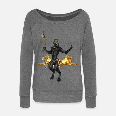 Anubis the Egyptian god - Women's Boat Neck Long Sleeve Top