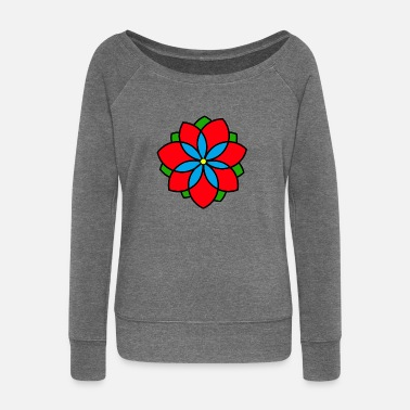 flower - Women's Boat Neck Long Sleeve Top