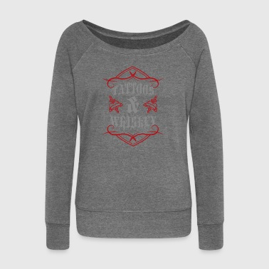 Tattoo / Tattoos: Tattoos & Whiskey - Women's Boat Neck Long Sleeve Top