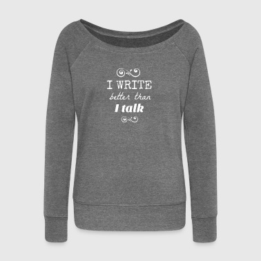 write white.png - Women's Boat Neck Long Sleeve Top